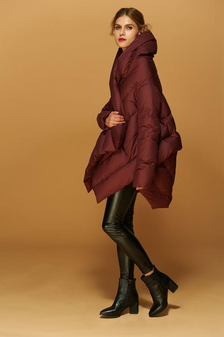 2016 Новый Модельер женская Зимнее Пальто 90% Белая Утка вниз Нерегулярные Средней Длины Куртка Красный/Черный Бесплатная Доставка размер