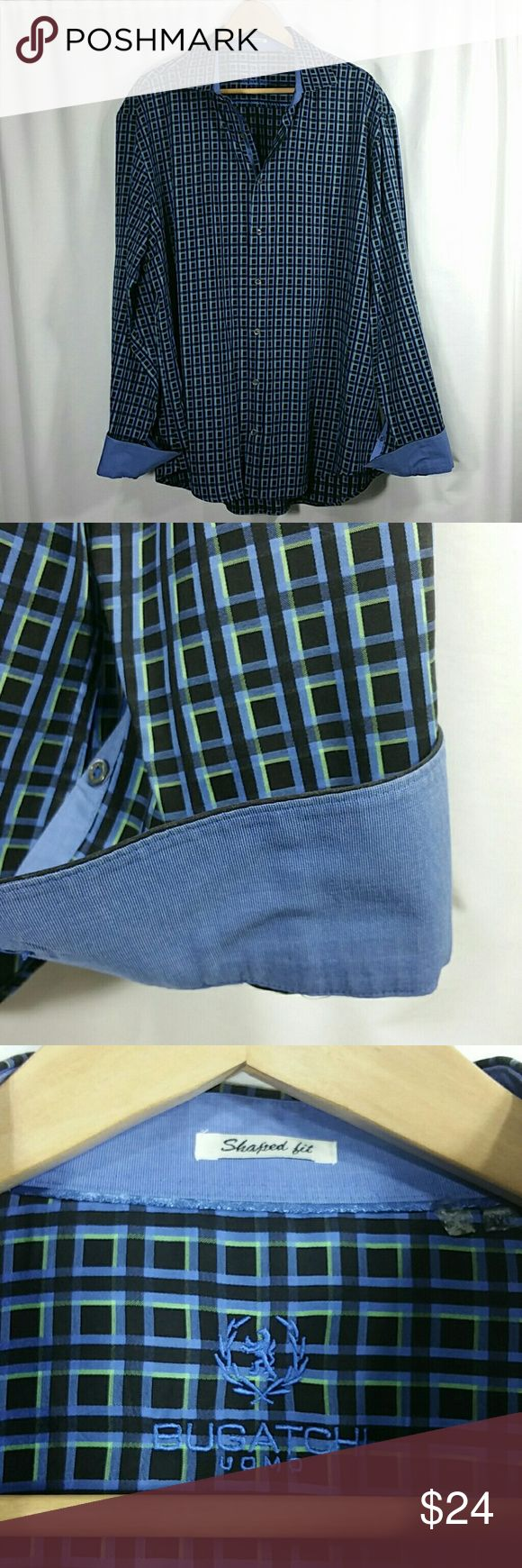 "Bugatchi Uomo 3XL Shirt w/Contrasting Trim In excellent pre-worn condition, 100% cotton with contrasting fabric on collar and cuffs.  Chest 27"" across and sleeves 27"" in length.  Shaped Fit. From a smoke-free home, no trades and no PayPal. Bundle more of these shirts and save! Bugatchi Shirts Dress Shirts"