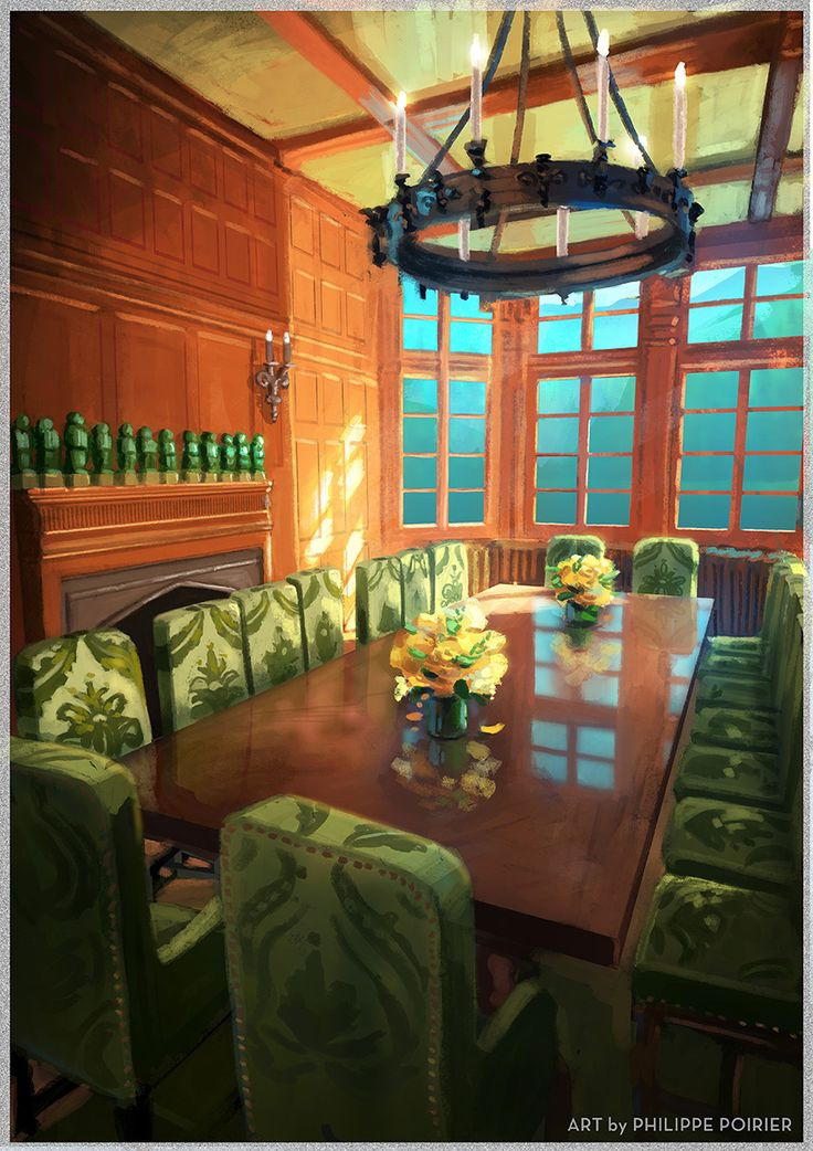 Dorinda Medley's dining room in the Berkshires. Art by Philippe Poirier