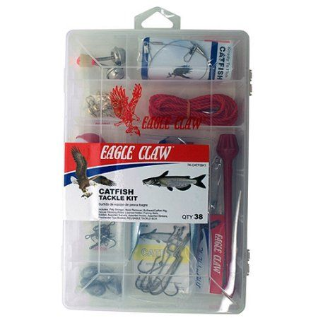 Eagle Claw Catfish Tackle Kit with Utility Box, Multicolor