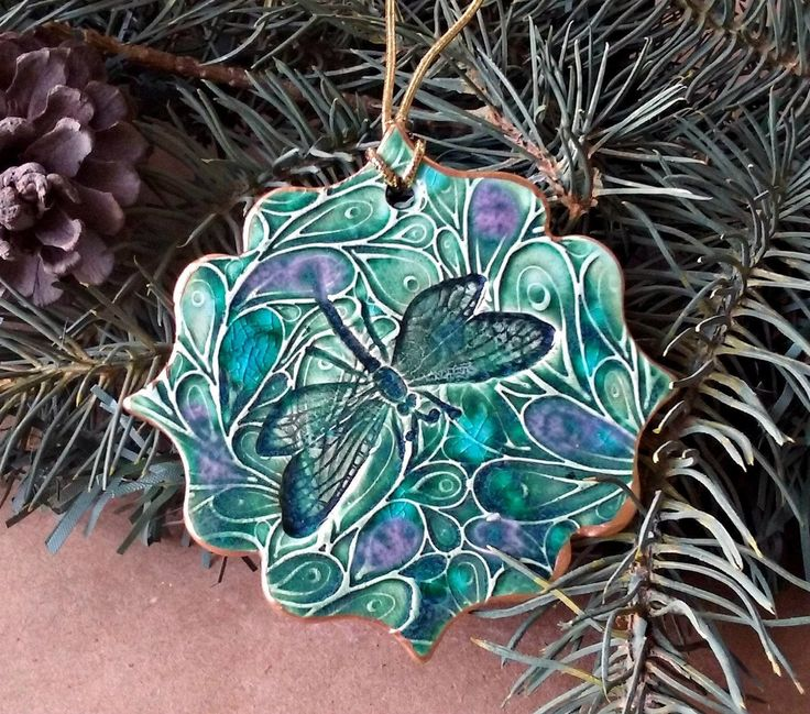 Ceramic Christmas Ornament Dragonfly Peacock Green edged ...