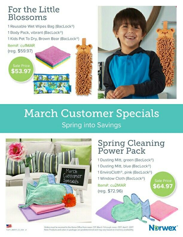 Spring is here!! March specials are here!! Start your spring cleaning and a healthier you with chemical free norwex products! Check out my website www.caitlinperez.norwex.biz