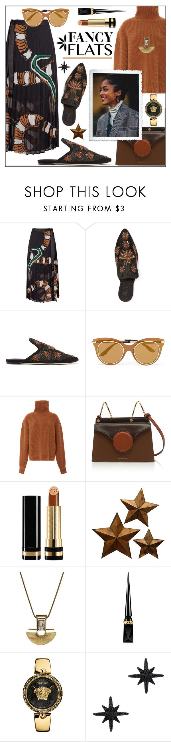 """Magic Slippers: Fancy Flats"" by pat912 ❤ liked on Polyvore featuring By Malene Birger, Sanayi 313, Dolce&Gabbana, Sally Lapointe, Gucci, Christian Louboutin, Versace, APM Monaco, polyvoreeditorial and fancyflats"