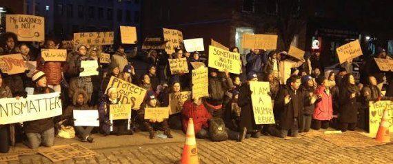 Teachers Protest Grand Jury Decisions At Police Precinct