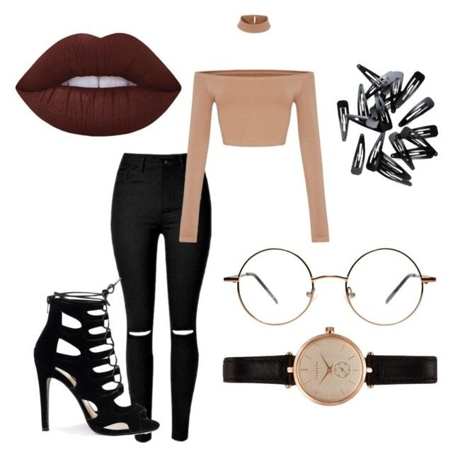 """""""Nude black jean crop top"""" by abeer111 on Polyvore featuring Lime Crime and Barbour"""