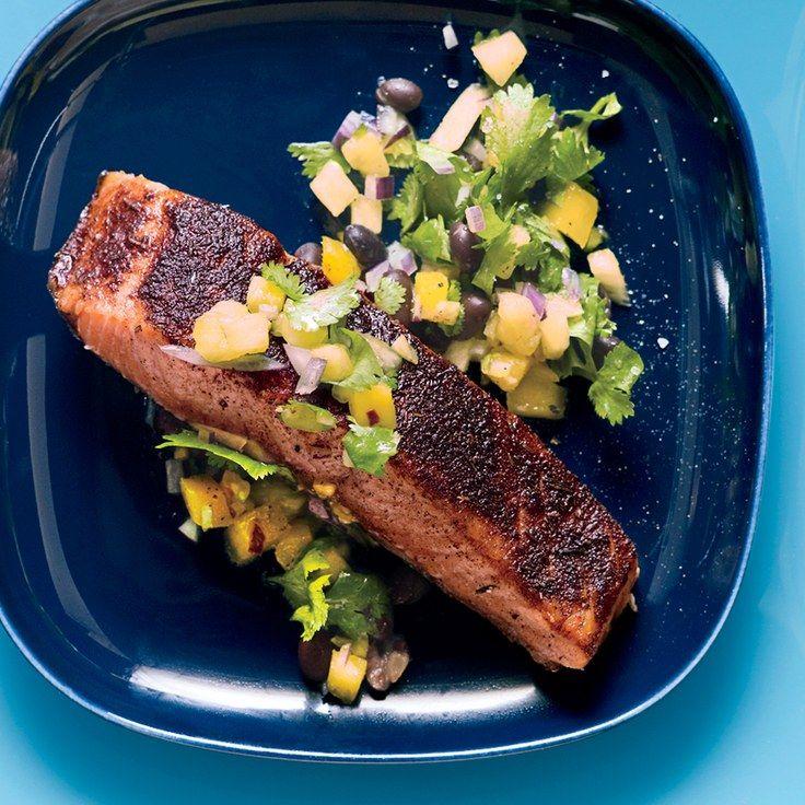 Jamaican Jerk Salmon and Mango Pineapple Salsa | Epicurious