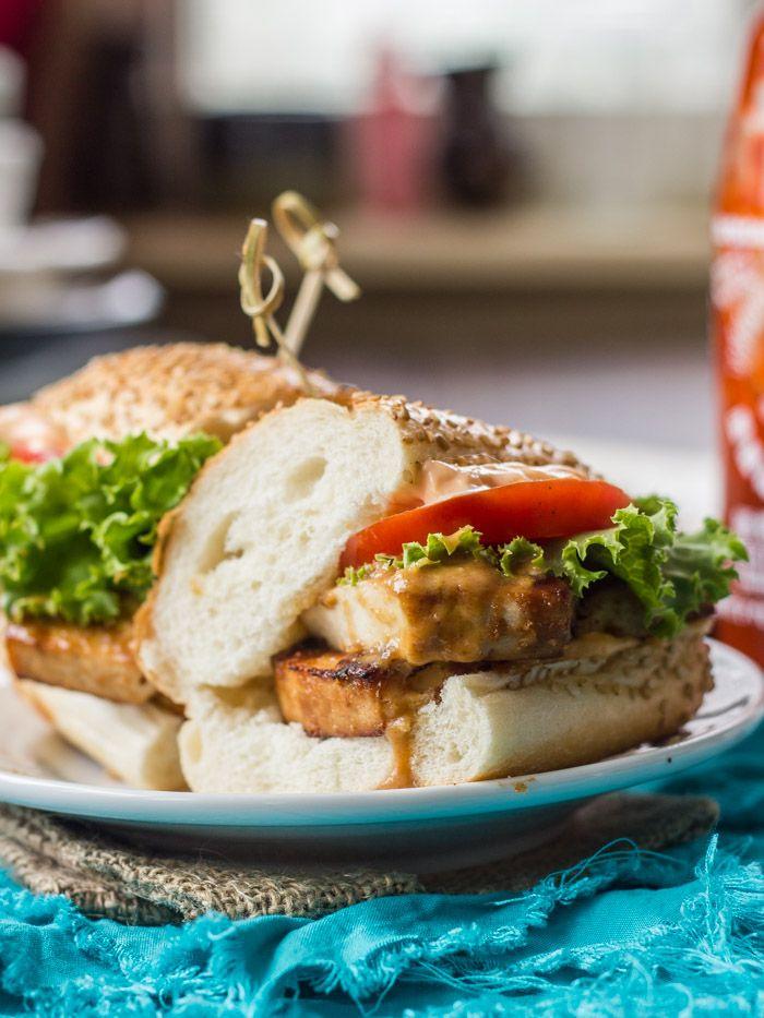 Baked Peanut Tofu Sandwiches with Sriracha Mayo
