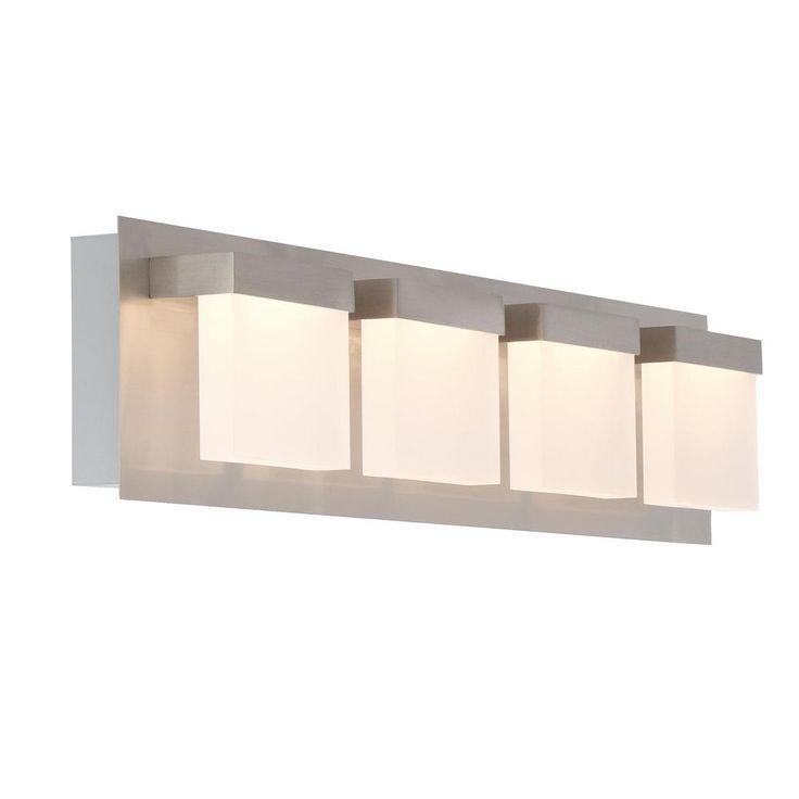 Purchased upstairs hall bath & 1/2 bath main level  Home Decorators Collection Alberson Collection 4-Light Brushed Nickel LED Vanity Light with Frosted Acrylic Shade-28025-HBU - The Home Depot