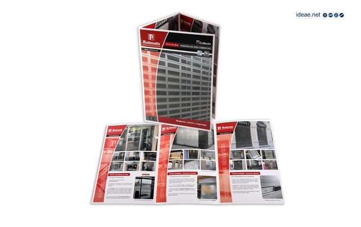 Tríptico gran formato realizado para el departamento comercial de Rollmatic Puertas Automáticas, con objeto de asesorar a sus clientes en la amplia gama de productos que disponen.