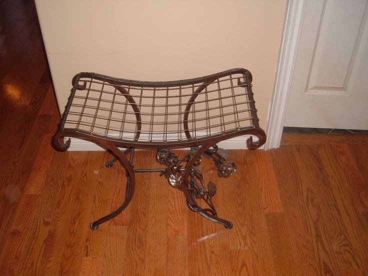 Top view of wrought iron ornamental bench