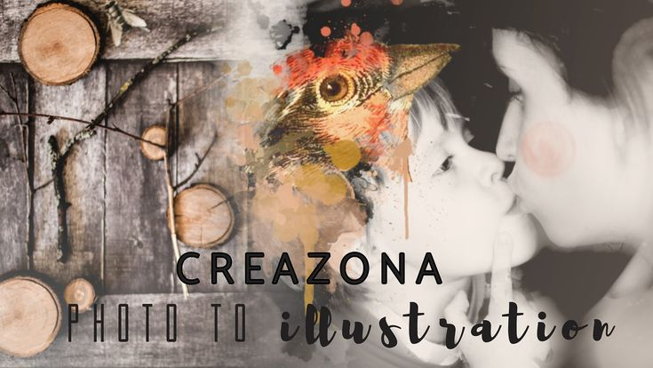 CREAZONA: Photo to illustration. Create unique collage with watercolor effects from a family photo (by Teeshoom)