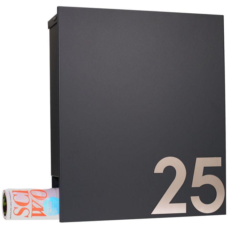 MOCAVI Box 111 Design-Briefkasten mit Zeitungsfach anthrazit-grau (RAL 7016) Wandbriefkasten Eingang & Garten Briefkästen Wandbriefkästen
