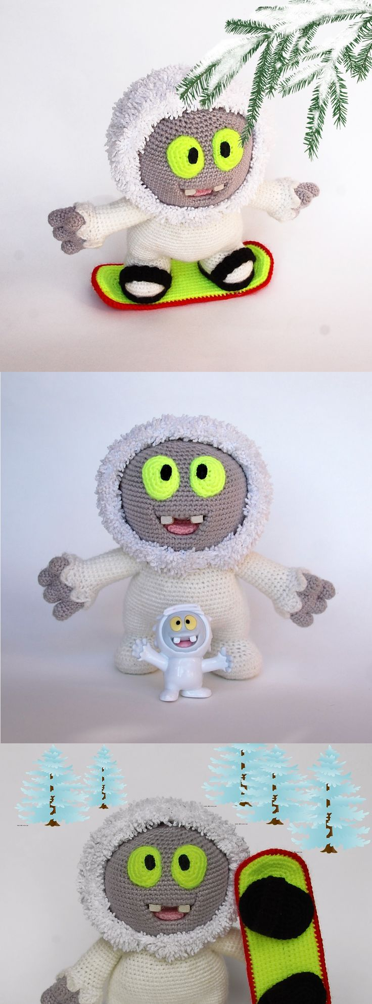 Yeti Moonik. Crochet amigurumi BigFoot toy. Crochet yeti kinder. Kinder surprise toy. Do it yourself. Amigurumi pattern by Pichufina Elena #InspiredCrochetToys