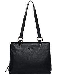 cd6df81977877 BACCINI Handtasche mit Langen Henkeln Leder NOELA groß Henkeltasche Damen  Schultertasche echte Ledertasche Damentasche schwarz