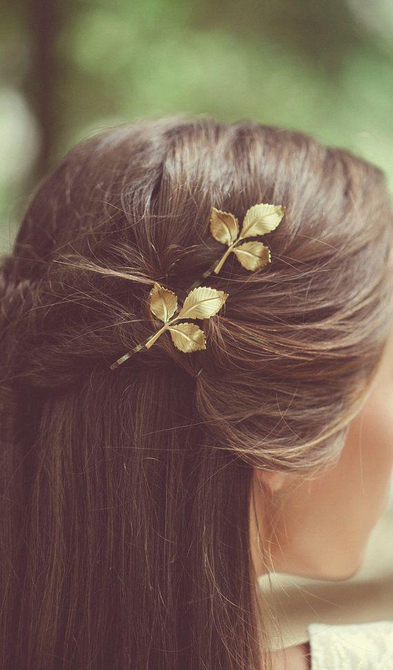 Gold Leaf Hair Pins Leaf Bobby Pins Leaf Hair Clips Bridal Hair Bobby Pins Bridal Hair Clips Rustic Woodland Wedding Bridal Hair Accessories