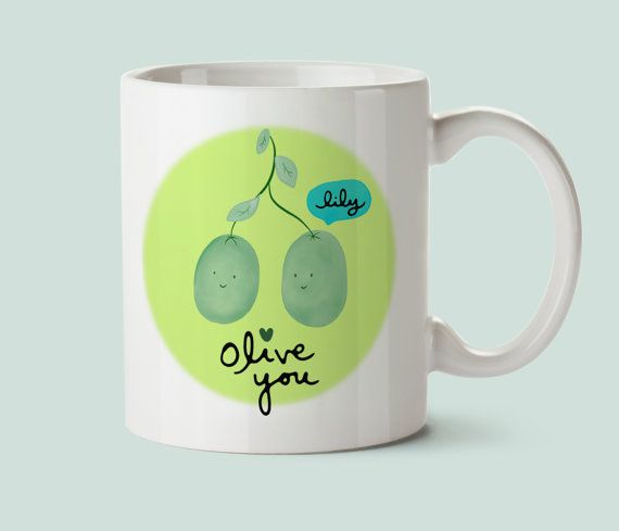 """Feeling lost amidst OLIVE the valentines day gift ideas? Maybe you've been scouring Pinterest for that perfect gift, and yet despite your best efforts, your DIY failed miserably? Don't worry! We've all been there.  Luckily, here I've done the hard work for you. This punny mug is a gift they will cherish!  This cute mug can be personalized with a name... you can hear it already: """"oh!! so cute!! the olive is talking!"""". Yup. You've done it again. Good job, you.  by Drawing Joy"""
