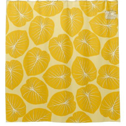 Tropical Leaf Yellows Designer Shower Curtain Set - shower gifts diy customize creative