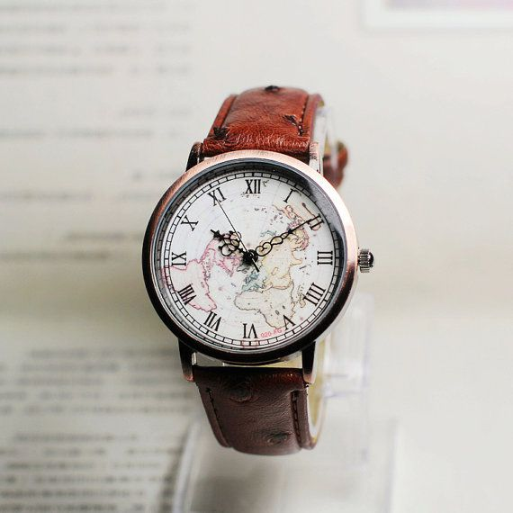 Map watch, Sailing diary,Vintage Style Leather Watch, Women Watches, Boyfriend Watch, World Map, Mens Watch,  Type: Quartz Material: Glass Case