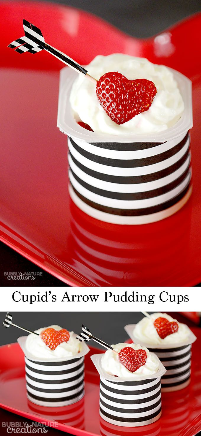 Cupid's Arrow Pudding Cups!  A quick and easy dessert idea for Valentine's Day!