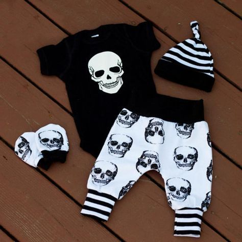New product has just been added to our store 4pcs Newborn Infa.... Get it here http://everythingskull.com/products/4pcs-newborn-infant-baby-boys-skull-clothes-bodysuit-pants-trousers-outfits-set-size-0-18m?utm_campaign=social_autopilot&utm_source=pin&utm_medium=pin while still available. And get an extra 20%off your entire order use code SALE20!!