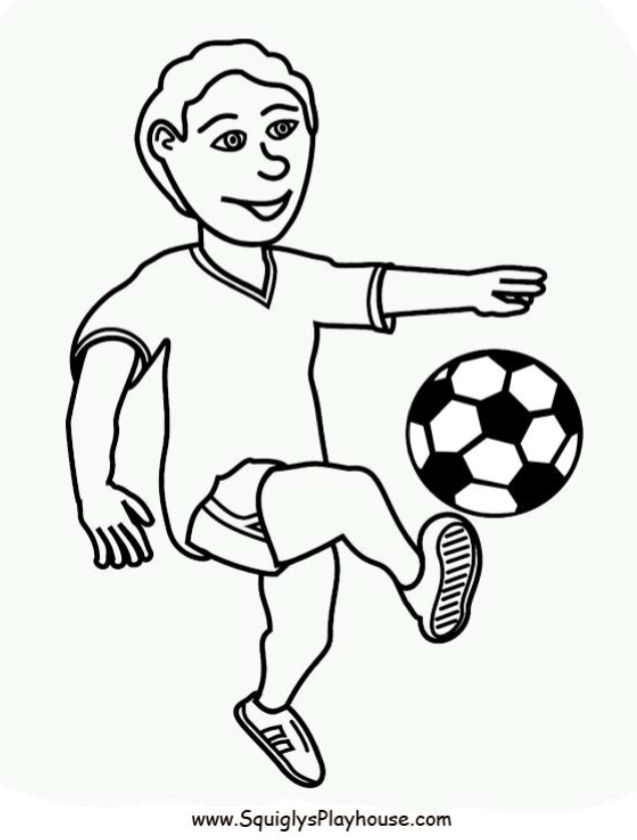 A free coloring page of a boy playing soccer. Sports