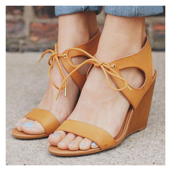 2ff5824543593d Mustard Wedge Sandals Lace up Open Toe Shoes for Party