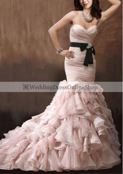 Pink Wedding Ideas - Organza Sweetheart Neckline Mermaid Style with Exaggerated Ruffle Skirt Wedding Dress WM-0621