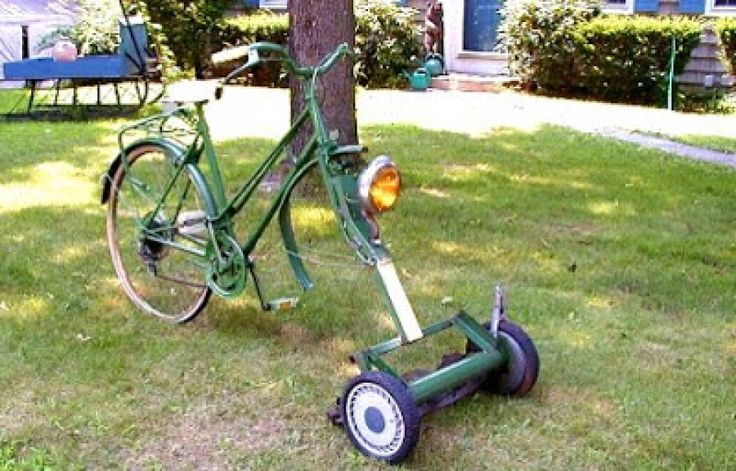 the lawnmower on the bike
