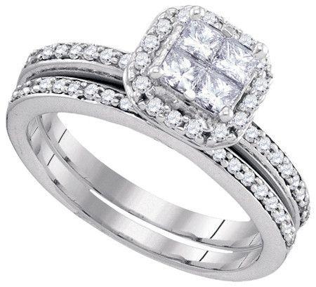 14KT White Gold 0.76CTW DIAMOND INVISIBLE BRIDAL SET: Rings