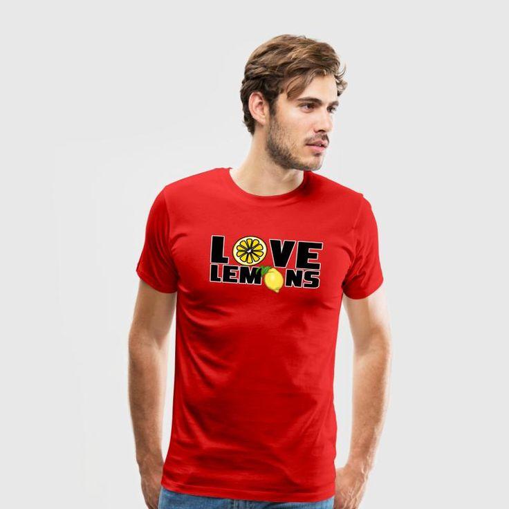 """""""Love Lemons"""" - Fruchtige Shirts und Geschenke für echte Zitronenliebhaber.  Sauer macht lustig und ist gesund. #love #liebe #lemons #zitrone #zitronen #sauer #sauermachtlustig #obst #früchte #zitrusfrüchte #gesund #gesundheit #lecker #sommer #fun #lustig #sprüche #shirts #geschenke"""