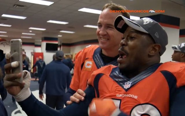 LOOK: Peyton Manning takes a selfie with Von Miller after the Broncos' win