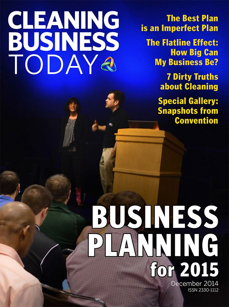 The December 2014 issue of Cleaning Business Today examines the critical issue of business planning. Featured on the cover: Derek Christian and Liz Trotter, at ISSA/Interclean 2014 in Orlando. who Derek and Liz spoke to a standing-room-only crowd about employee engagement.
