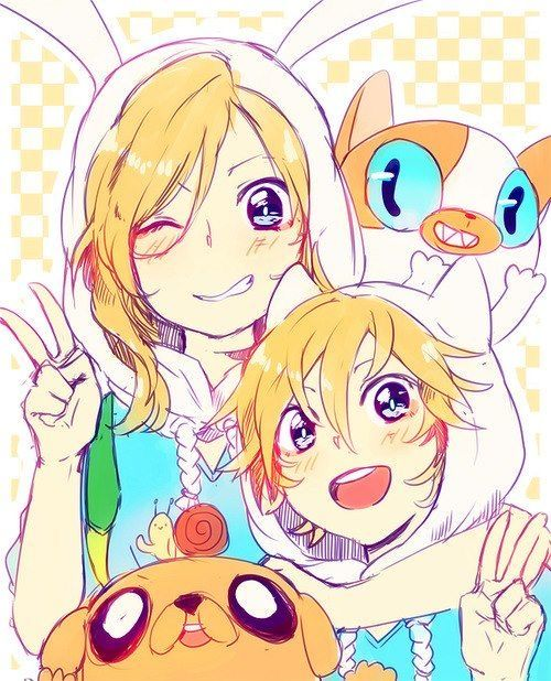 Not sure is that rin and len .. or finn and fionna..