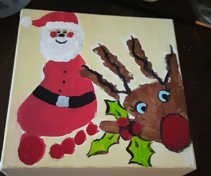 Christmas craft! Very cute hand print and foot print!!