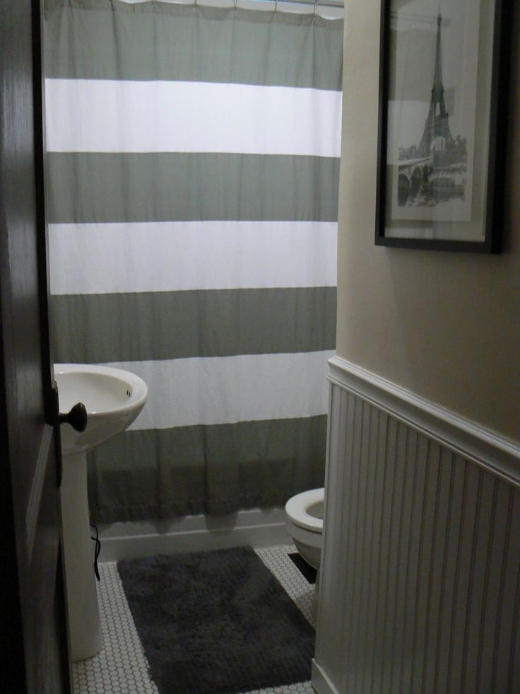 Awesome Grey And White Striped Shower Curtain Ideas - 3D house ...