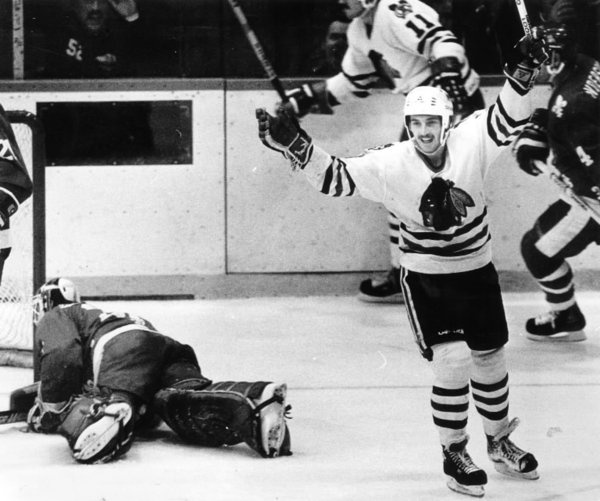 1985 ( Chicago Tribune / January 15, 2013 ). Denis Savard celebrates a goal. More vintage photos here: http://www.redeyechicago.com/news/redeye-tomahawk-throwback-vintage-blackhawks-photos-20130115,0,2834134.photogallery#
