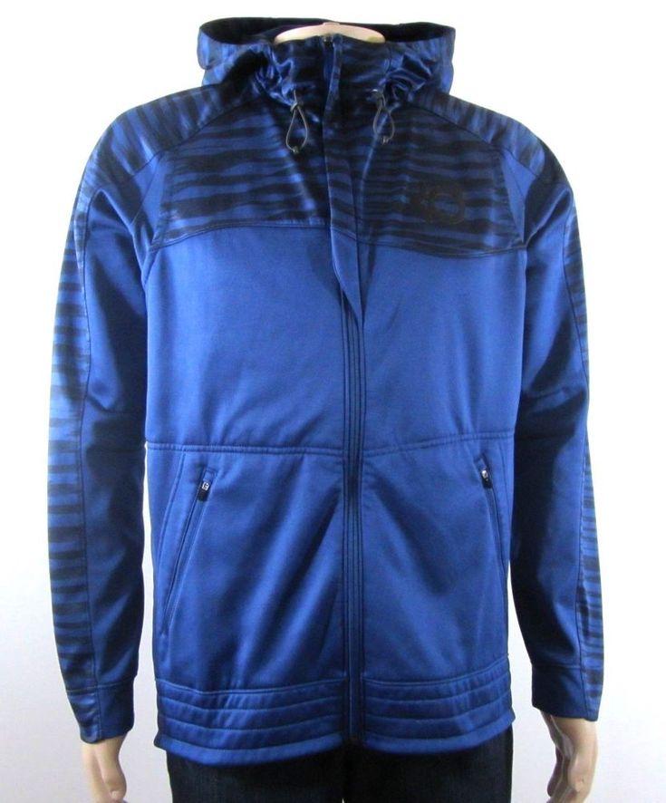 Nike Men's Kevin Durant Therma Fit Full Zip Hooded Jacket Blue Medium #Nike #ThermaFit