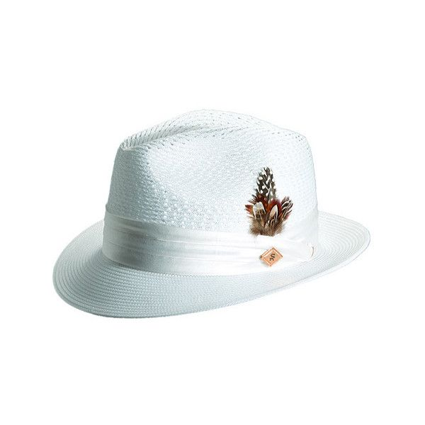 Men's Stacy Adams SA394 ($55) ❤ liked on Polyvore featuring men's fashion, men's accessories, men's hats, white, mens wide brim fedora, men's brimmed hats, mens fedora and mens wide brim straw hat
