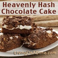 This easy to make Heavenly Hash Chocolate Cake Recipe can be made for just $2 and you family will LOVE it! Click here for this yummy #recipe! http://www.livingonadime.com/heavenly-hash-chocolate-cake-recipe/