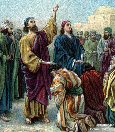 Acts 19 Bible Pictures: Paul laying on of hands