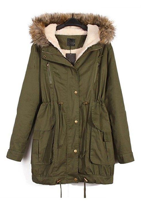 Army Green Rivet Hooded Cotton Blend Parka Coat