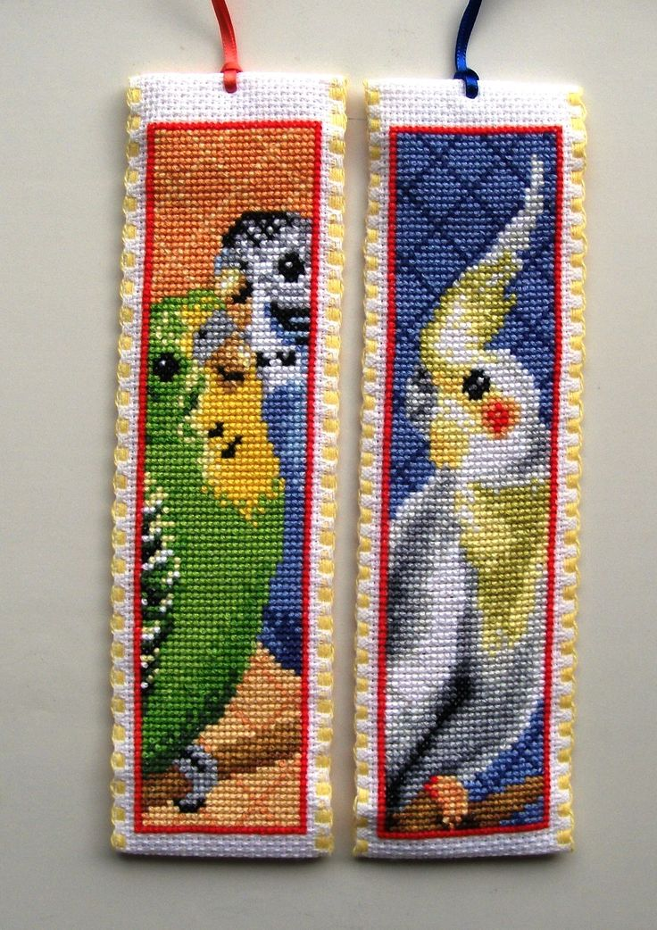 Vervaco cross stitch bookmarks-cockatoo and budgies.