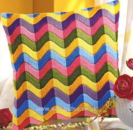 Buy Colourful Waves Long Stitch Cushion Front online at sewandso.co.uk