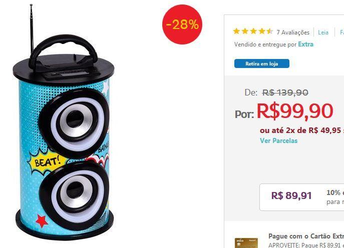 Caixa de Som Amplificada TRC 218C Alto-falante de 3 Bluetooth Entrada USB Rádio FM e Controle Remoto  25W << R$ 8991 >>