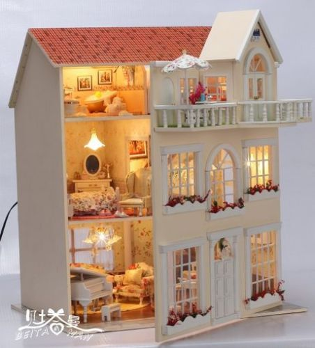 Cuento de hadas casas de muñecas en miniatura Hágalo usted mismo Kit Niños Niño Dormitorio Niños Regalo