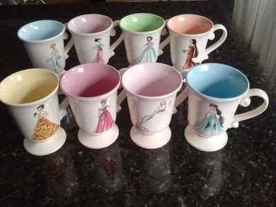 Lot Of 8 Disney Store Princess Designer Collection Mug Cup