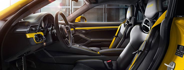 Porsche 911 991 GT2 RS interior with yellow accents