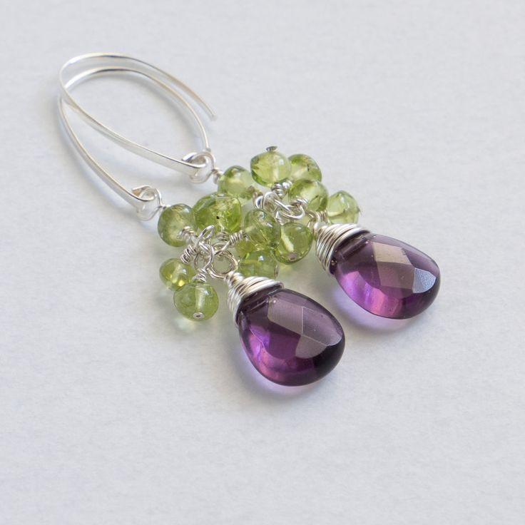 Peridot amethyst quartz sterling silver earrings handmade semiprecious stone faceted amethyst quartz peridot cluster teardrop earrings by CretanHareCreations on Etsy