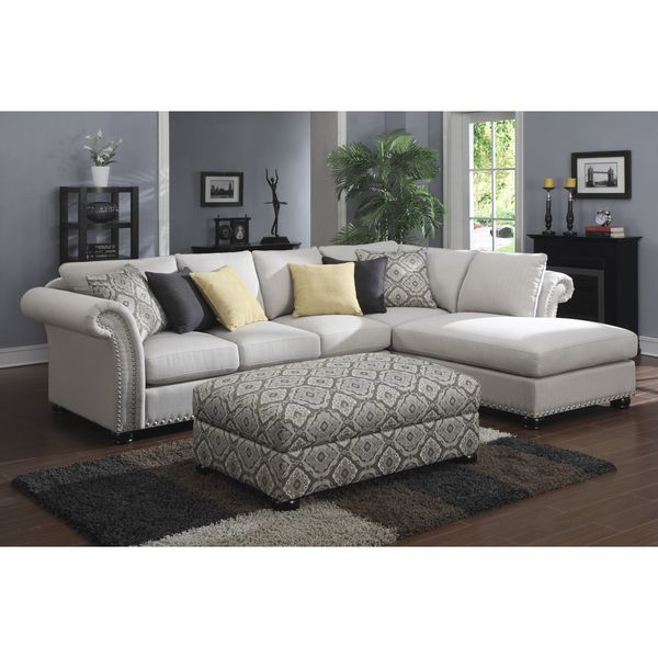 Emerald 2 piece Beige Chaise Sectional And Storage Ottoman