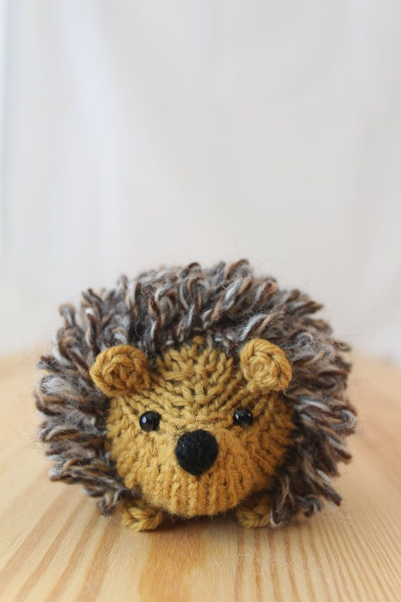 Little knitted hedgehog in honey and tweed, stuffed wool toy. $15.00, via Etsy.